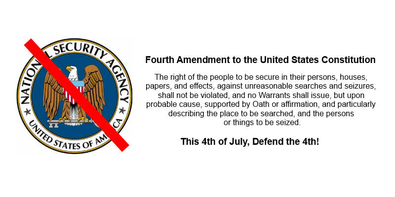 Logo of NSA with red slash and text of 4th amendment.